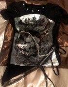 Mroczny poszarpany punkowy tshirt czaszki łańcuchy...