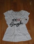 Biały t shirt Terranova single z wysyłką