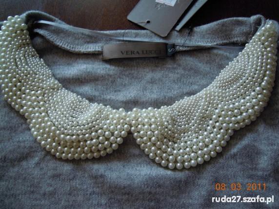 Bluzka sweterek Vera Lucci szara perełki 36 S