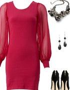 Dopasowana sukienka z szyfonowym rękawem fuksja