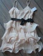 Sukienka H&M by night falbanki nude pudrowa