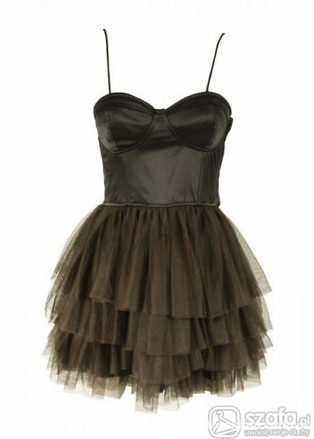 Suknie i sukienki h&m sukienka gorsetowa tiul czarna