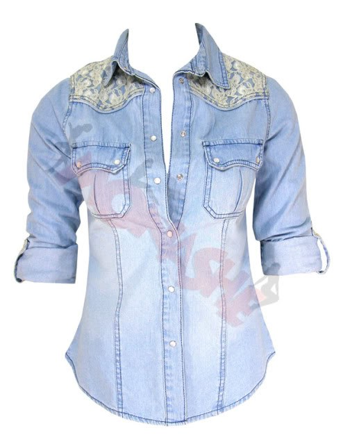 jeansowa koszula z koronka