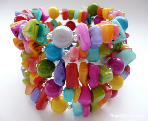 Kolorowa bransoletka z masy perłowej