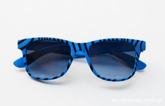 Okulary NOWE okulary WAYFARER zebra NIEBIESKIE w zebrę emo