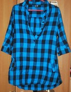niebiesko czarna koszula BERSHKA S