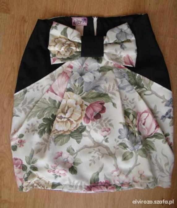 Spódnice Spódnica w kwiaty kokardka z wysokim stanem