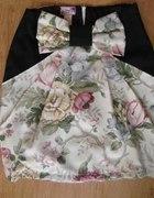 Spódnica w kwiaty kokardka z wysokim stanem