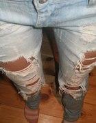 jeansy dziury przetarcia...