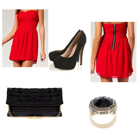 Imprezowe Czerwona sukienka z dodatkami