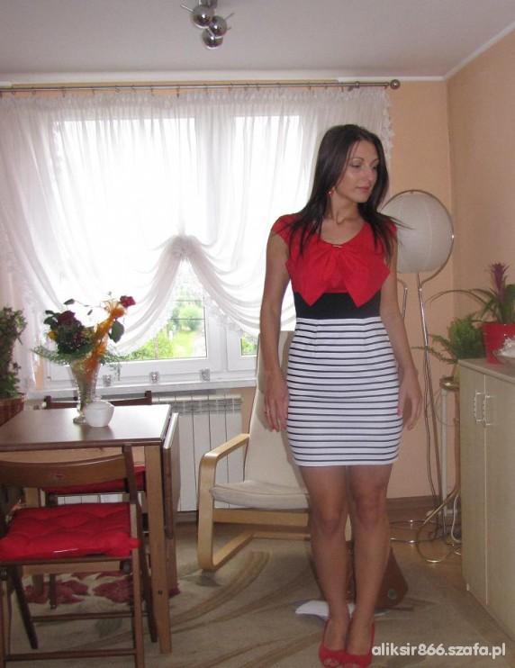 Mój styl sukienka kokarda sukienka marynarska