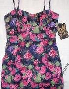 zara sukienka mini floral różowa
