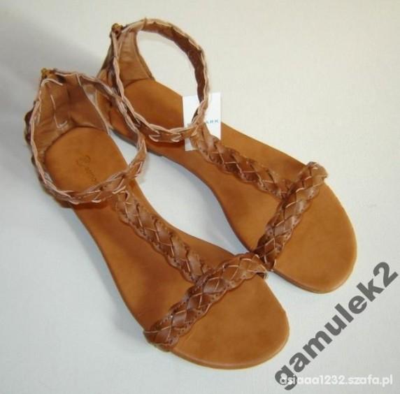 Karmelowe gladiatorki sandałki