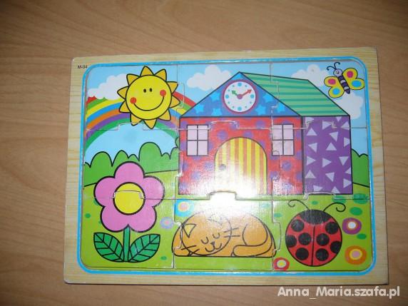 Zabawki drewniane puzzle domek