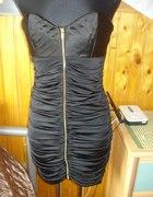 Czarna sukienka z zipem i marszczeniami