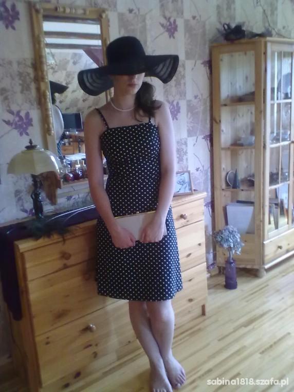 Eleganckie czarna sukienka w biale groszki Amisu