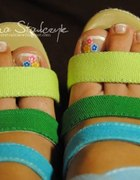 Koturny sandałki z kolorowych pasków