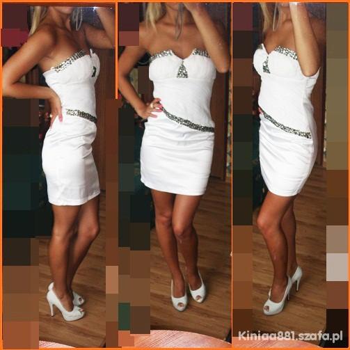 Wieczorowe Biała sukienka plus platformy nude