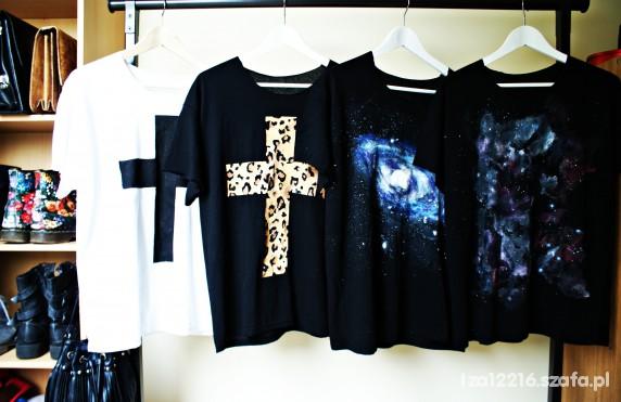 Tshirt kosmos mgławica krzyż panterka