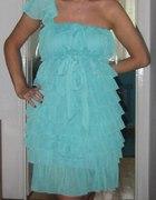 Miętowa lazurowa turusowa sukienka falbanki