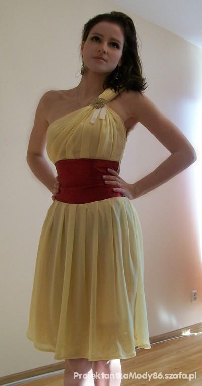 Wieczorowe Żółta sukienka