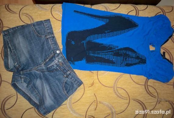 Codzienne jeansowe spodenki i super bluzka dłuższa chabrowa