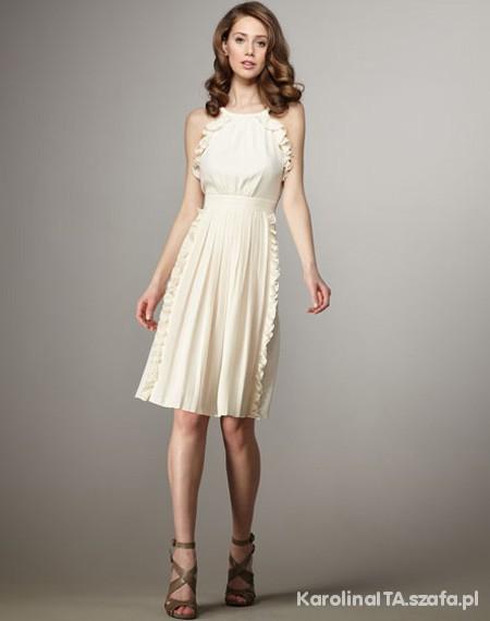 tibi ruffle cream dress...