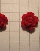 Kolczyki róże mini czerwone