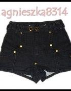RIVER ISLAND jeans spodenki z wysokim stanem 36