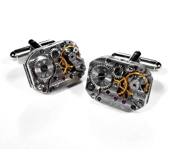 NOWE Spinki do mankietów z mechanizmów zegarkowych