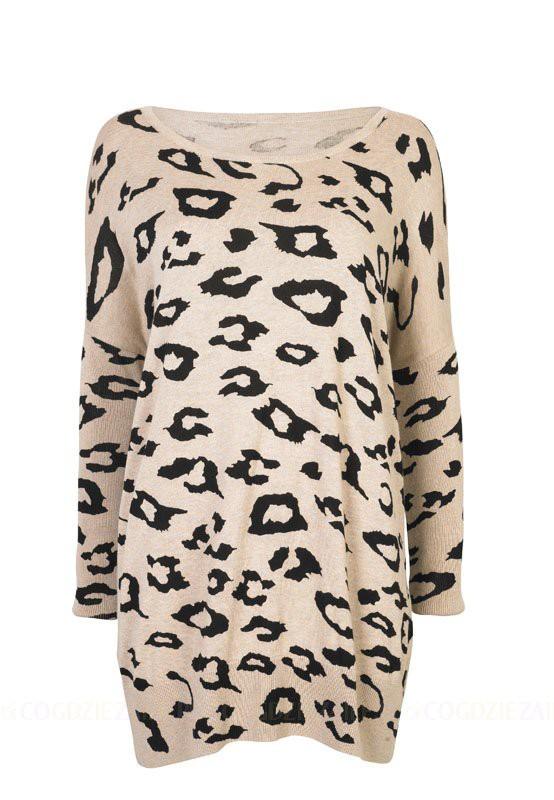 Sweterek oversize w panterke