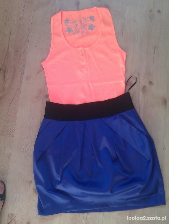 Mój styl Fioletowa spódniczka i neonowa bokserka