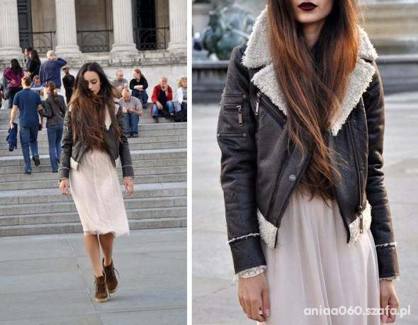 Mój styl Ramoneska kożuch i sukienka