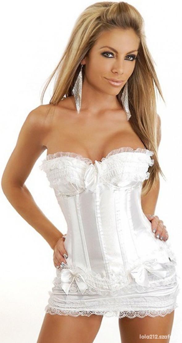 biała mini spodniczka z kokardkami koronką s 36...