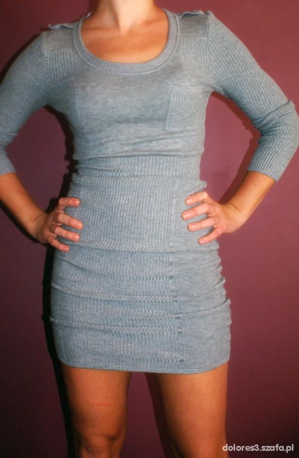 Fantastyczny szara obcisła sukienka sweter tunika h and m w Suknie i sukienki LV52
