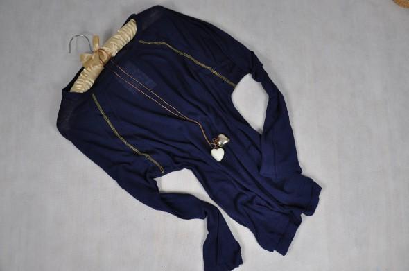 Sweterek bluzka granatowa ze złotą nicią