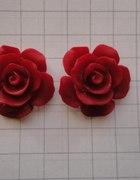Kolczyki różyczki XXL czerwone