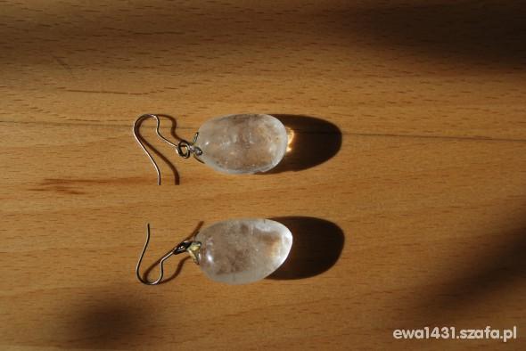 Kolczyki białe przezroczyste kamienie