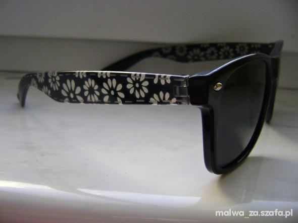 NERDY Okulary przeciwsłoneczne kwiatki beżowe w Okulary