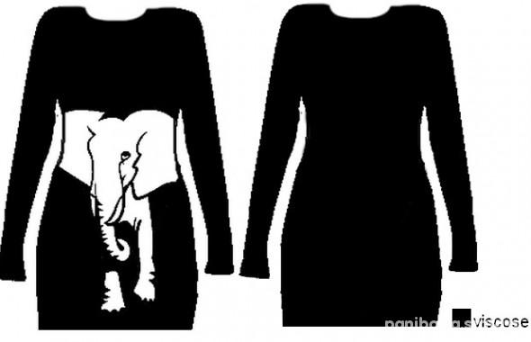 longsleeve sweter tunika ze słoniem