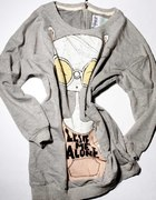 Zara TRF bluza luźna tunika z nadrukiem M szara