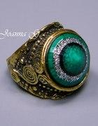 SZMARAGDOWY pierścionek JAPAN STYLE