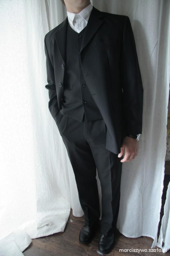 Czarny garnitur styl gangsterski 3 częściowy