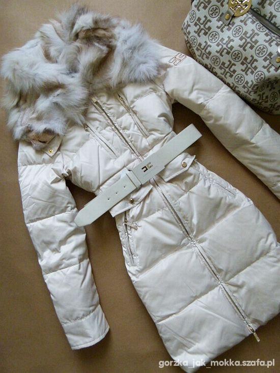 Celyn B Elisabetta Franchi biały płaszcz zimowy