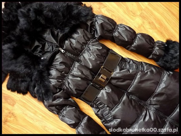 czarny plaszczyk z futerkiem