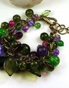Na jagody bransoletka fioletowo zielony przepych...
