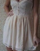 Koronkowa sukienka h&m nude ecru beż