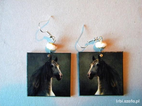 koczyki hand made Konie