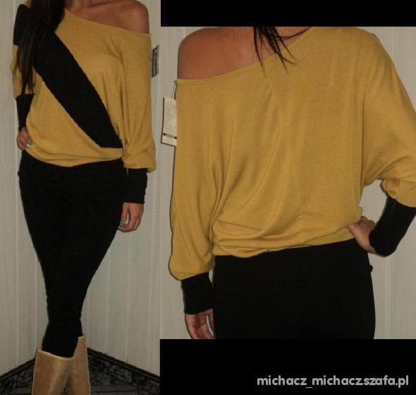 sweterek na ramie nietoperz nowy żółto czarny