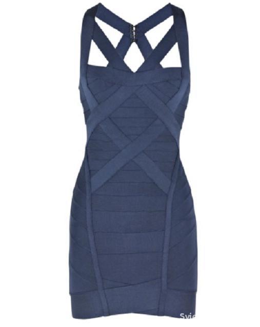 Bandażowa sukienka zip z paskami na plecach LXL